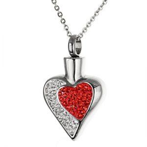 Herz rot mit Zirkonia Steinen