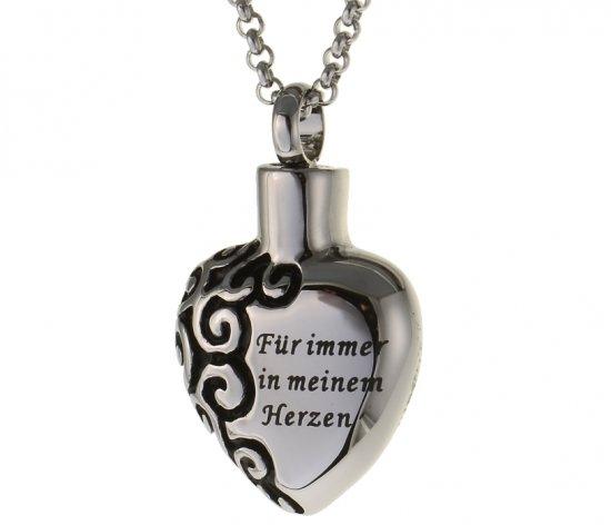 Gedenk Anhaenger Herz Ascheschmuck aus Edelstahl