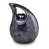 Keramik Urne Tropfenform blau mit silberfarbenem Herz