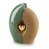 Keramik Urne grün mit goldenem Herz
