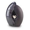Keramik Urne anthrazit mit silberfarbenem Herz