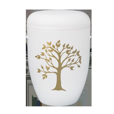 Naturstoff Urne – Friedensbaum weiß