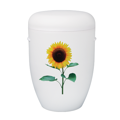 Naturstoff Urne – Power of Life Sonnenblume (weiß)