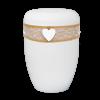 Naturstoff Urne – Jutekordel handgewickelt, Spitze und Herz (weiß)