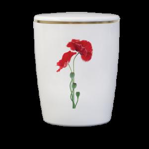 Naturstoff Urne – Mohn (weiß)