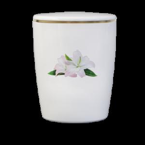 Naturstoff Urne – Lilie (weiß)