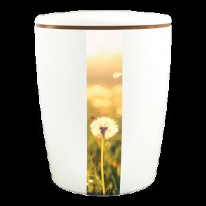Naturstoff Urne Solide Line Creative Vertikal - Pusteblume (weiß)