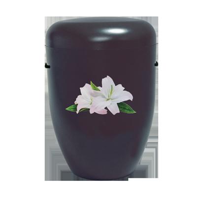 Naturstoff Urne – Power of Life Lilie (schwarz)
