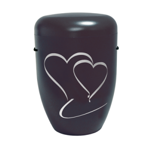 Naturstoff Urne – Doppelherz schwarz