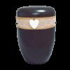 Naturstoff Urne – Jutekordel handgewickelt, Spitze und Herz (schwarz)