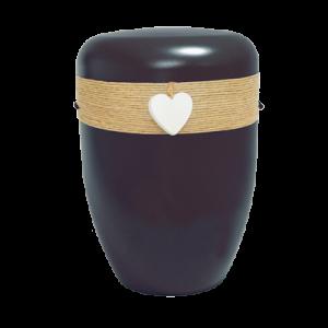 Naturstoff Urne – Jutekordel handgewickelt, Herz (schwarz)