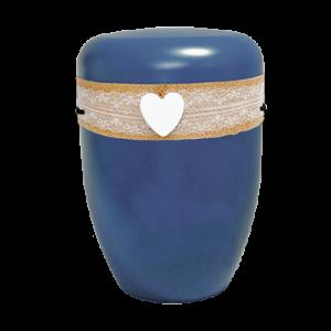 Naturstoff Urne – Jutekordel handgewickelt, Spitze und Herz (marine)