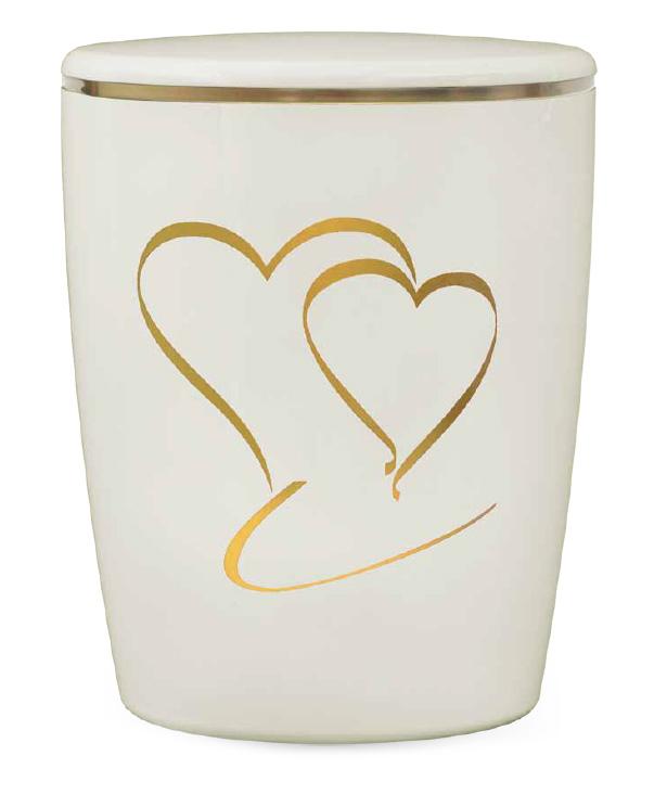 Naturstoff Urne Solide Line Motive - Herz Weiß