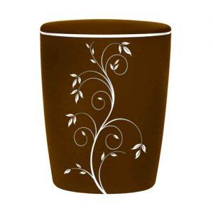 Naturstoff Urne - Samt Edel (weiß auf café)