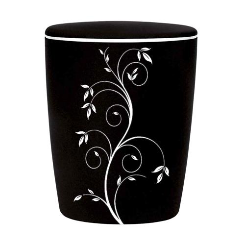 Naturstoff Urne - Samt Edel - weiß auf schwarz