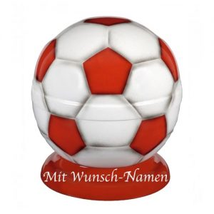 Metall Fußball Urne - (rot/weiß)