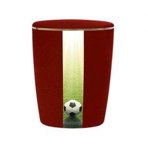 Naturstoff Urne - Fußball (rubinrot)