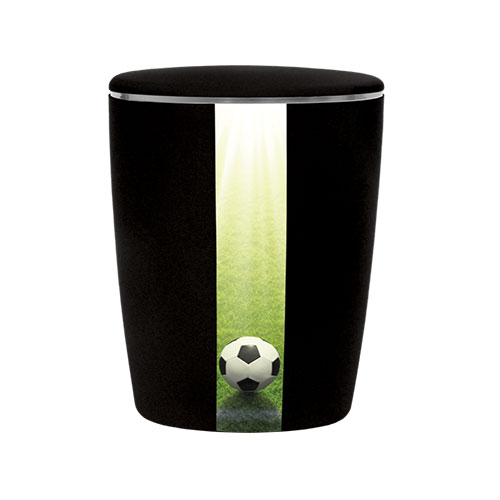 Naturstoff Urne - Fußball (schwarz)