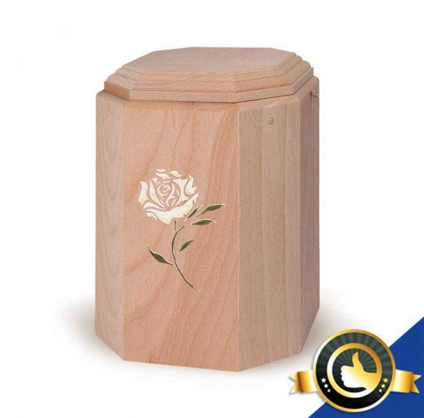 Urne-Bio-Holz-Art-Weisse-Rose