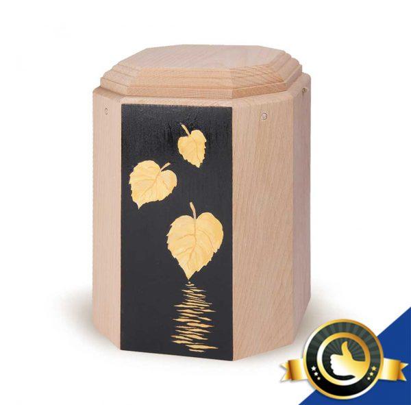 Urne-Bio-Holz-Imago-Blaetter-Gold-Schwarz