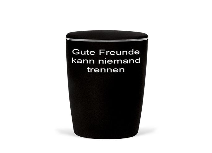 Naturstoff - Fußball Urne - schwarz weiß - Gute Freunde kann niemand trennen - Frankfurt