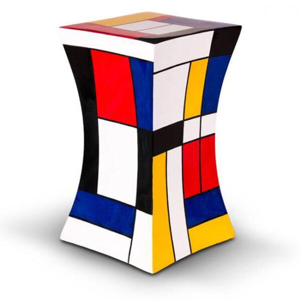 Glasfaser Urne - eckig - rot/schwarz/blau/weiß/gelb