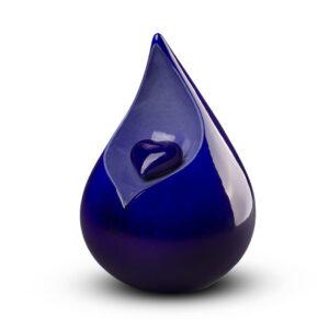 Keramik Urne Tropfenform mit Herz blau