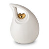 Keramik Urne weiß mit goldenem Herz