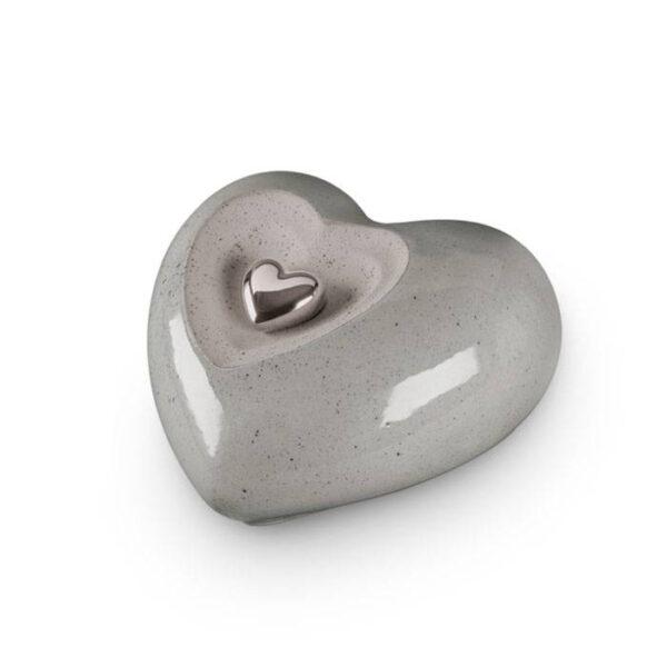 Keramikurne Herz - grau - mit Magnetherz