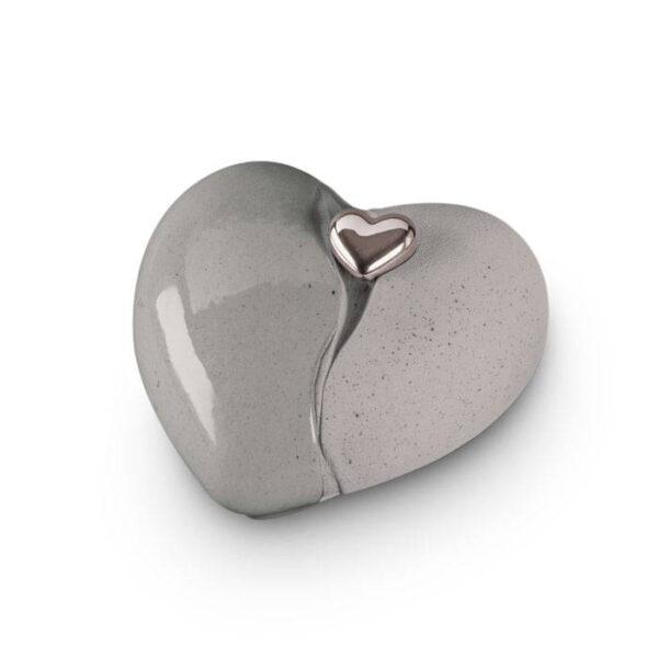 Keramikurne Herz - grau/natur - mit Magnetherz