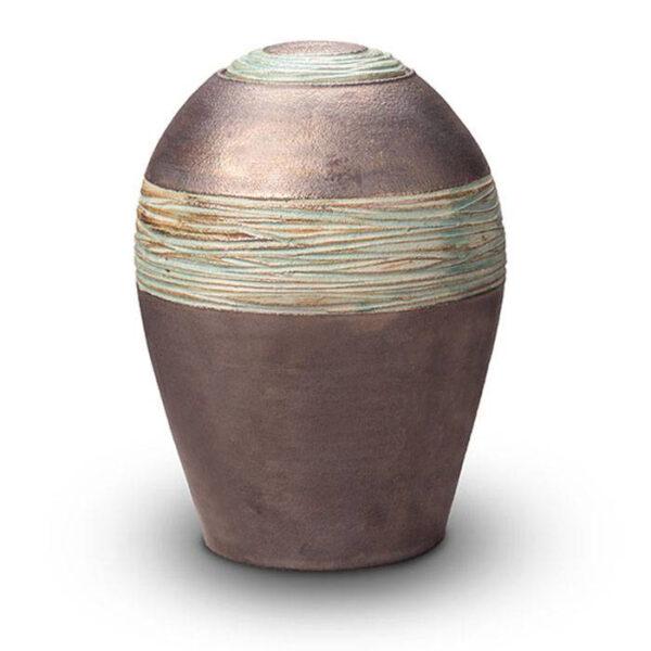 Keramikurne metallic/grün