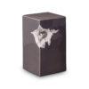 Keramikurne - schwarz mit silbernem Herz1