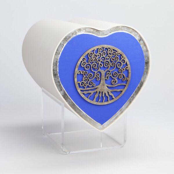 Design Herzurne-baum-des-lebens-blau-in-silber-gerahmt