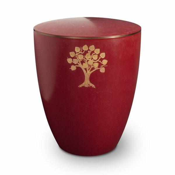 Gravur Urne – Lebensbaum-purpurrot-mit-dekorring-gold-3mm