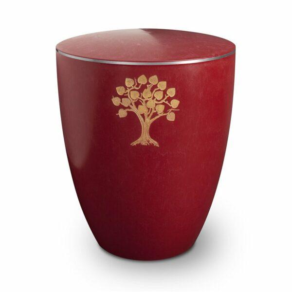Gravur Urne – Lebensbaum-purpurrot-mit-dekorring-silber-3mm