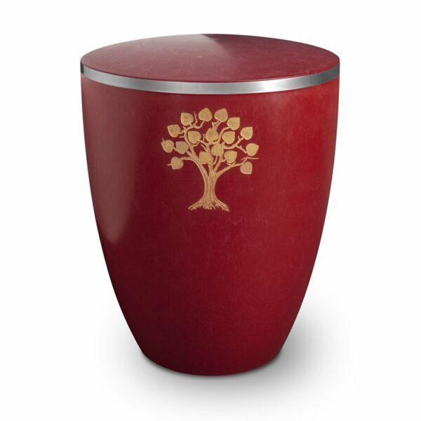 Gravur Urne – Lebensbaum-purpurrot-mit-dekorring-silber-9mm
