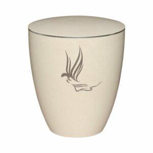 Gravur Urne - Engel- cremeweiß-silberring