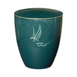 Gravur Urne - Engel- grün -goldring