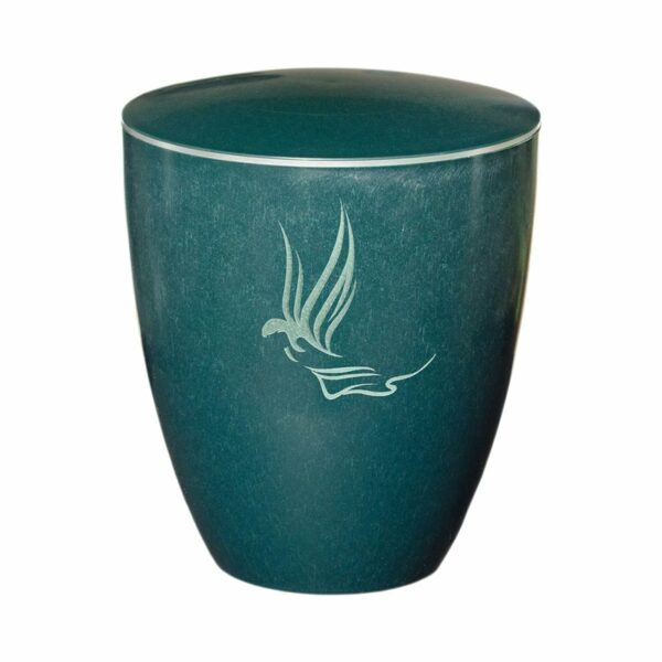 Gravur Urne - Engel- grün - silberring
