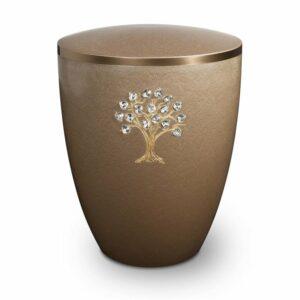 Gravur Urne-Lebensbaum-Kastanie-mit-dekorring-gold-9mm