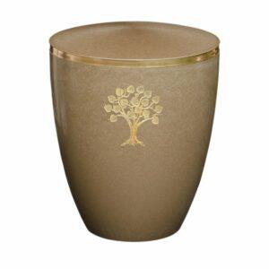 Gravur Urne - Lebensbaum - Kastanie-mit-dekorring-gold-9mm