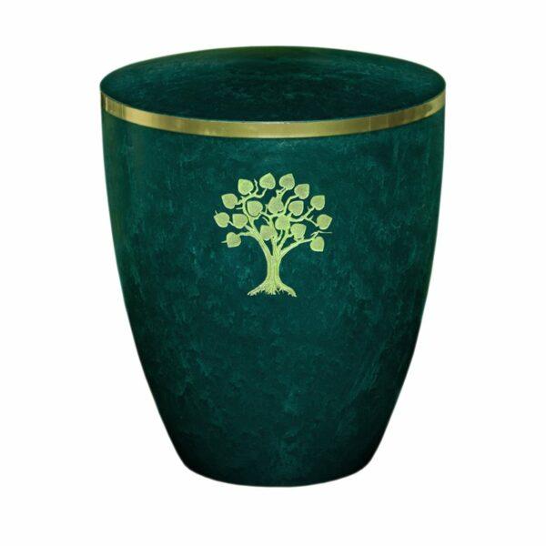 Gravur Urne-Lebensbaum-gruen-mit-dekorring-gold-9mm