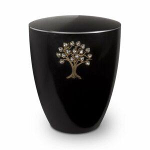 Gravur-Urne-Lebensbaum-swarovski-schwarz-mit-dekorring-silber-3mm