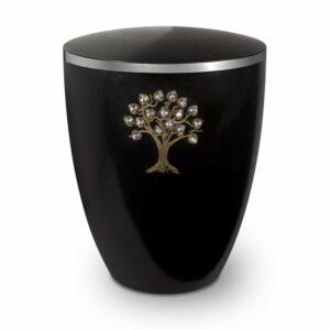 Gravur-Urne-Lebensbaum-swarovski-schwarz-mit-dekorring-silber-9mm