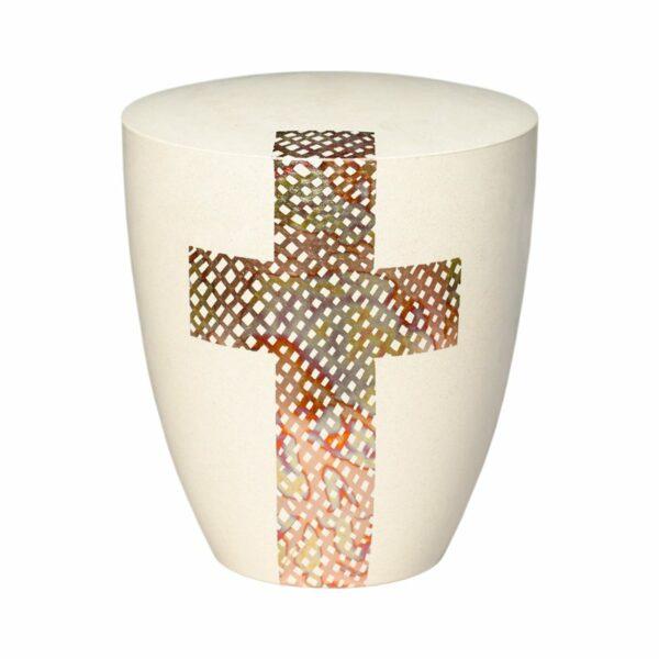 Kreuz Urne-cremeweiß-rot
