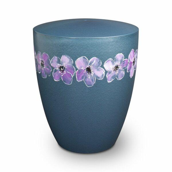Naturstoffurne - Blumenkranz-blau