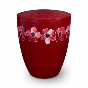 Naturstoffurne - Blumenkranz-rot