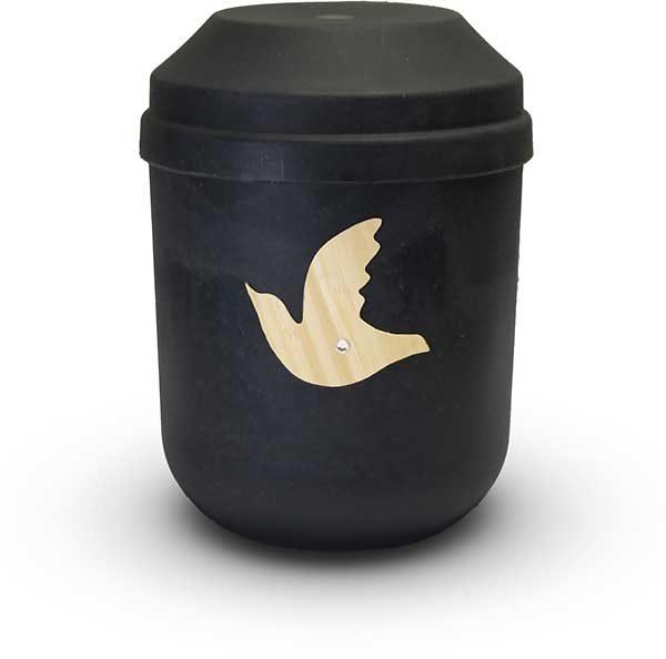 Bio Urne schwarz mit Taube