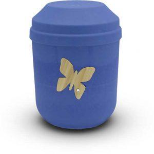 Bio Urne blau mit Schmetterling