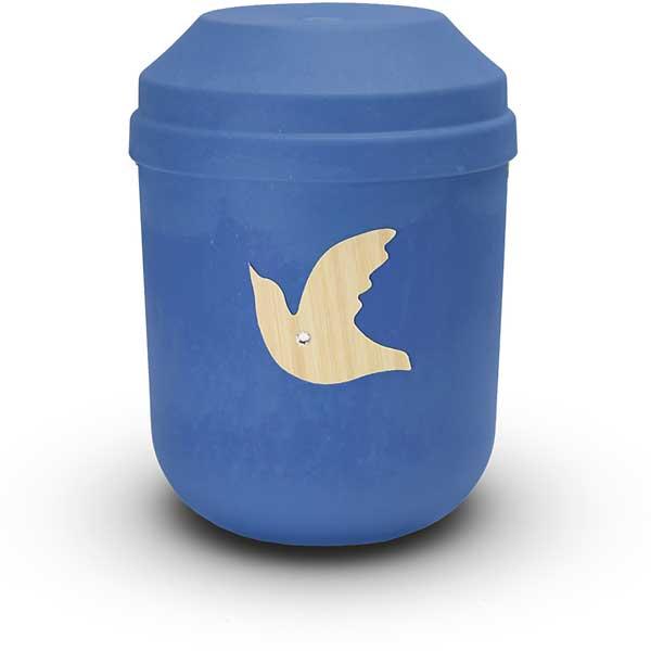 Bio Urne blau mit Taube